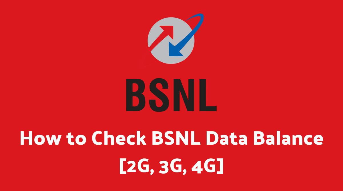 How to Check BSNL Data Balance
