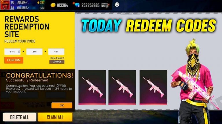 Free fire redeem codes today 13th may 2021