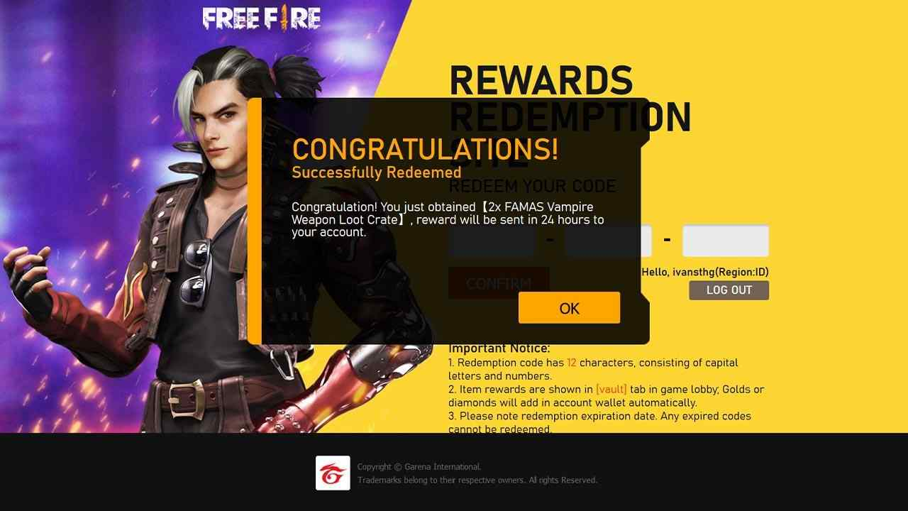 free fire redeem code today new
