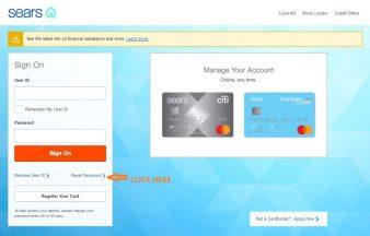 Sears Credit Card reset password