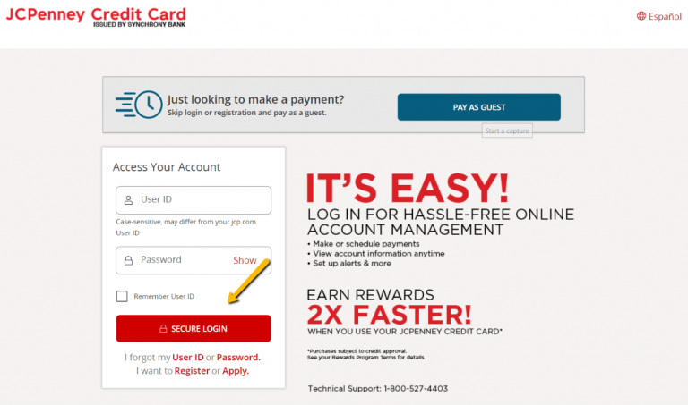 JCPenney Credit Card Login – www.jcpenney.com