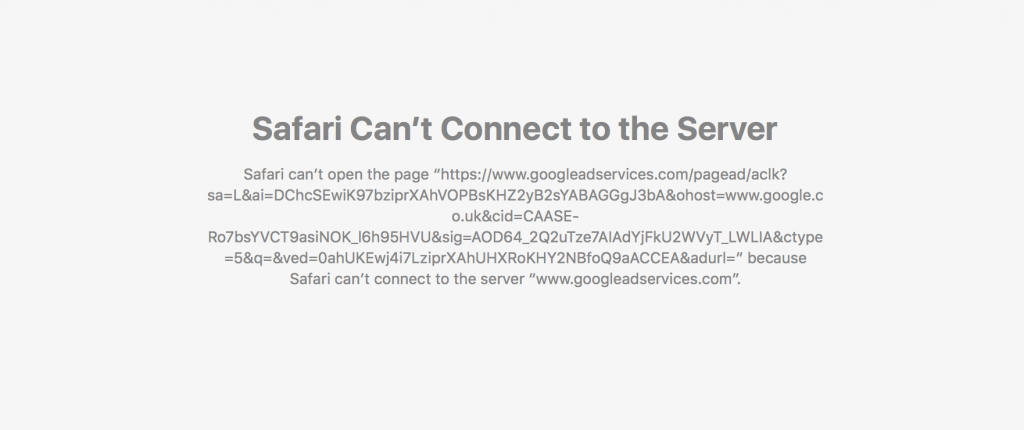 Safari can't connect to server